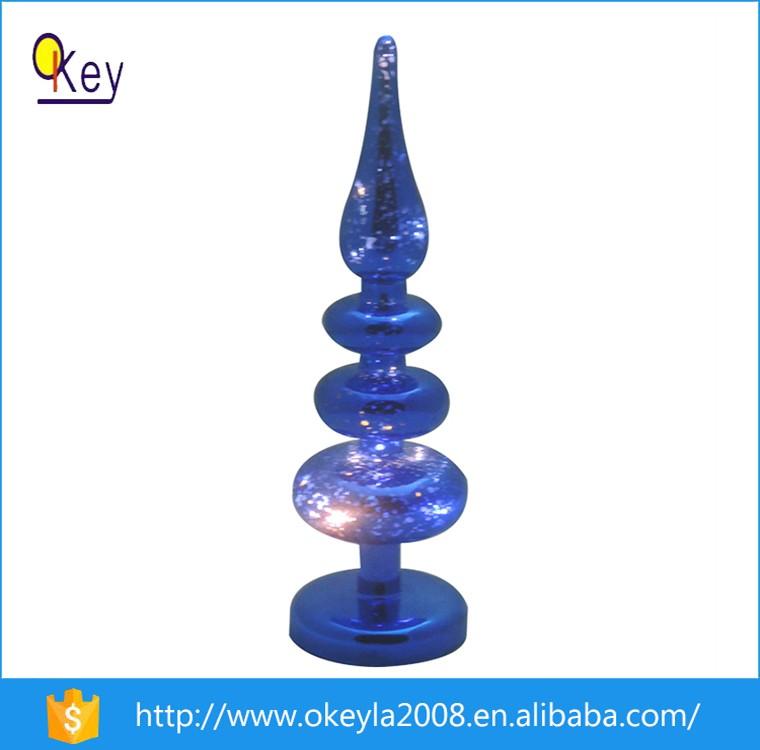 10 Inch Blue Led Lighting Glass Christmas Tree For 2016 New ...