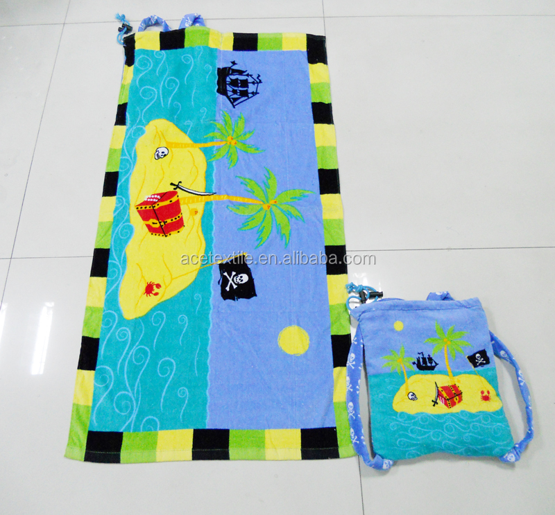 100 cotton reactive printing single drawstring kids towel bag cartoon printing kids towel bag