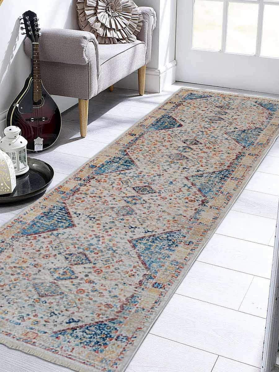 Crossweave Machine Woven Polyester 2'6''x9'10'' Turkish Oriental Runner Rug Multicolor