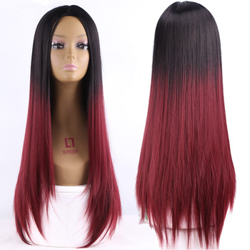 Ombre Two Tone Synthetic Dark Red Hair Wigs Natural Cheap Long