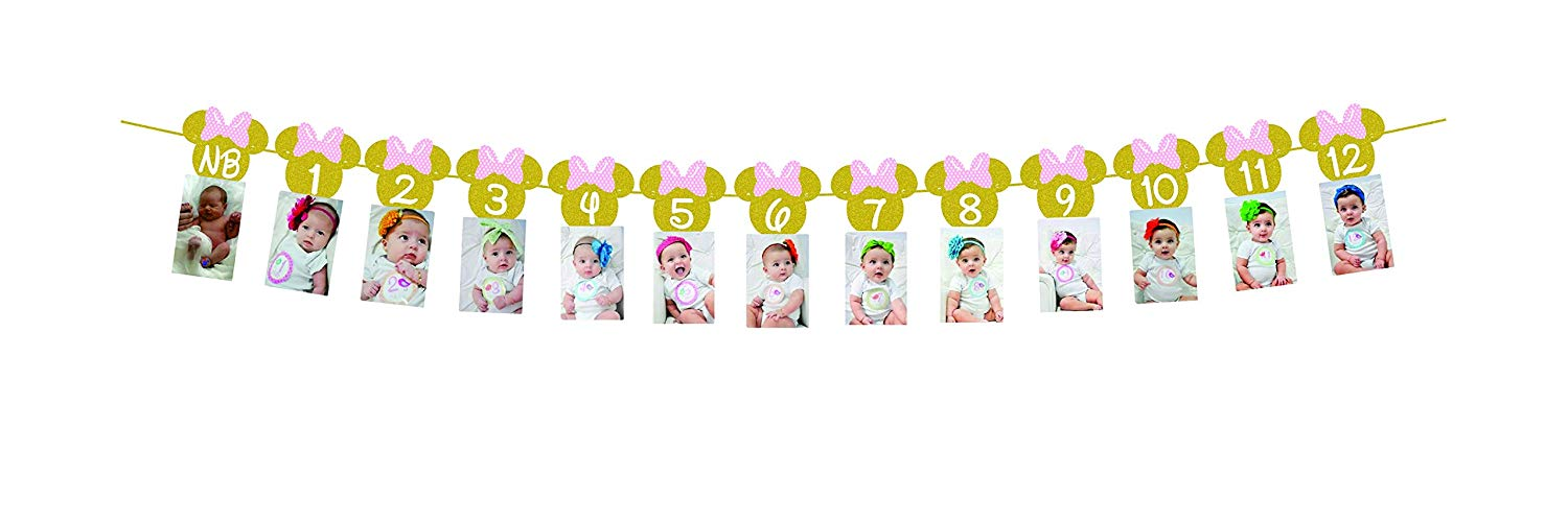 Get Quotations Minnie Mouse 12 Month Photo BannerGold Glitter Light Pink Bow