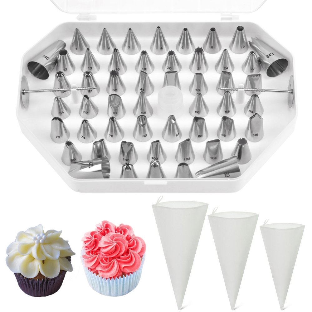 "Jennice House Professional Stainless Steel 55 Pieces Cake Decorating Nozzle Tips Set with 3 Pack of Pastry Bags Set--12""+14""+16"" (55Pcs Cake Decorating Kit+3 Pastry Bags Set)"