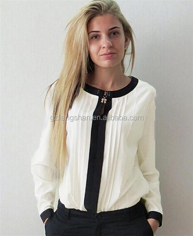 Wholesale chiffon style blouse women formal blouse designs long sleeve  woman tee shirt ef37b29f9c0a