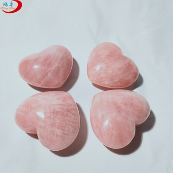 Professional wholesale natural stone crystal rose quartz hearts shaped rocks jewelry pendant