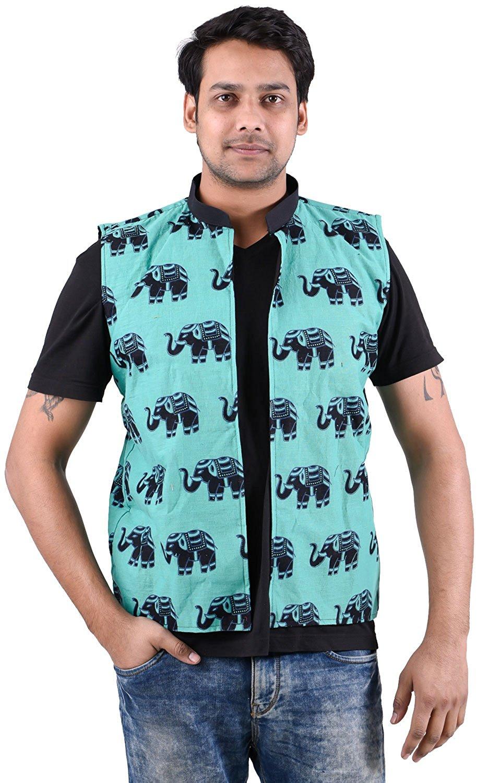 9ed532f8b6f9d Get Quotations · Lakkar Haveli Indian 100% Cotton Jacket Men Outwear Ethnic  Coat Oversize Elephant Print Plus Size