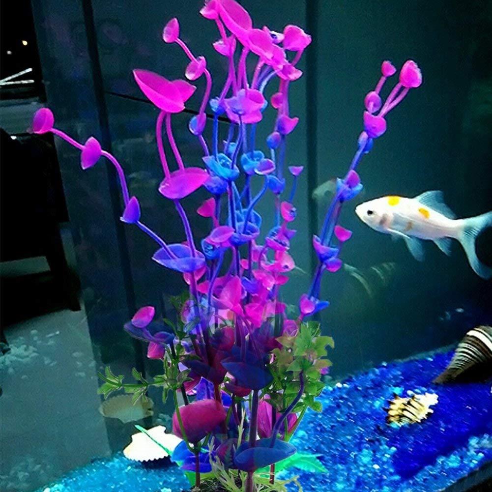 MEIBY Artificial Aquatic Plants, Aquarium Plastic Plants Fish Tank Imitation Sea Urchin Tropical Purple Water Aquatic Grass Artificial Plants Decoration for Aquarium