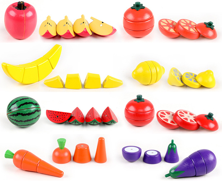 Children Pretend Simulation Play Wooden Toys  fruits and vegetables cutting toys