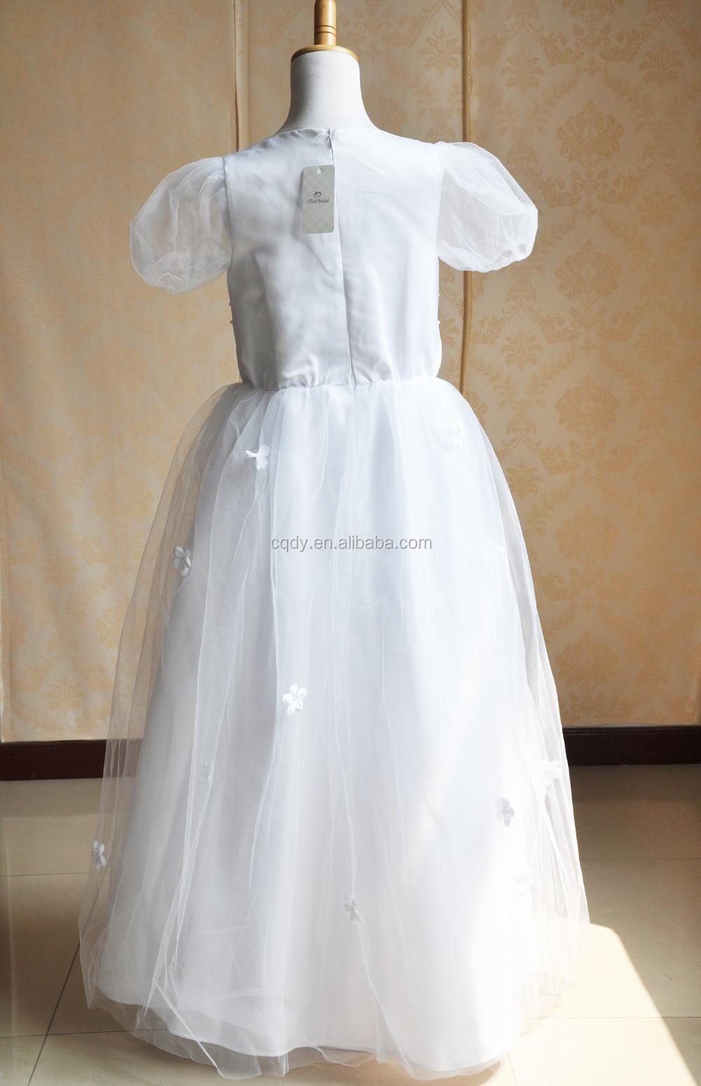 Hohe Qualität Puffy Tüll Kurzarm Mädchen Taufe Kleid Mit Perlen Dekoration Mädchen Kommunion Kleid Für 10 Jahre Alt Mädchen Buy Mädchen Taufe Kleid