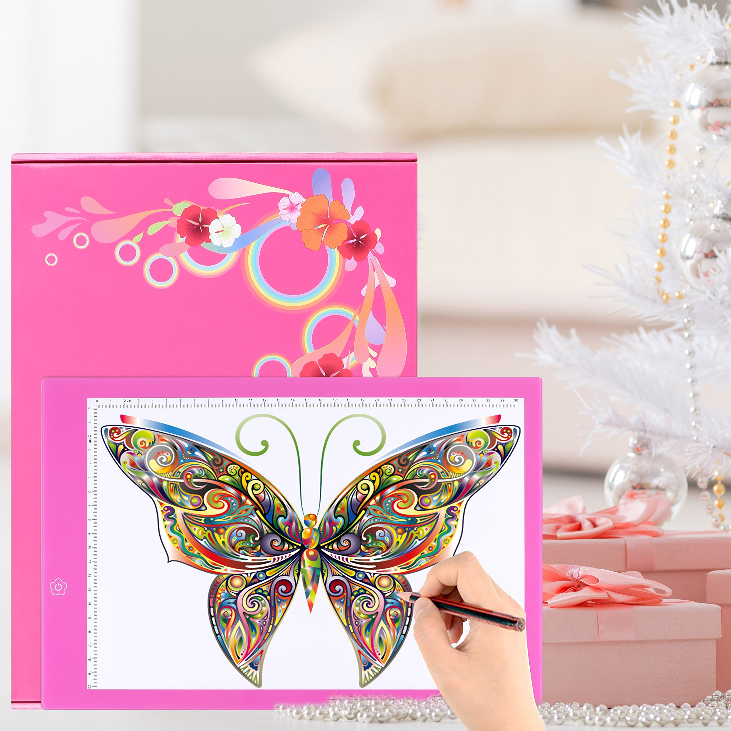Dark Pink A4 Ultra-thin Portable LED Light Box Tracer USB Power Cable Dimmable Brightness Artcraft Tracing Light Pad Light Box Art Supplies Arts and Crafts for Girls Boys Kids Gift Set Tracing
