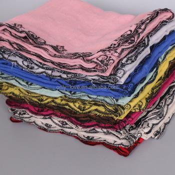 ef8d1e32ab8 2017 New Design Plain Embroidery Border Muslim Scarf Women Cotton Scarves  Hijab Long Shawls Gbs386 - Buy Embroidery Border Muslim Scarf,Cotton  Scarves ...
