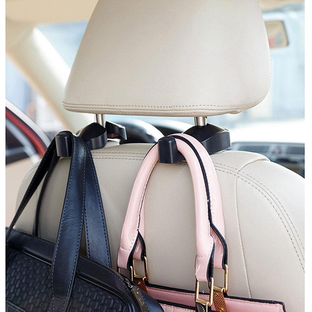 Car Vehicle Back Seat Hidden Hook,2 PCS Universal Car Vehicle Back Seat Headrest Hanger Holder Hook for Shopping Bag Purse Cloth Coat Grocery Handbags Grocery Bag (Black)
