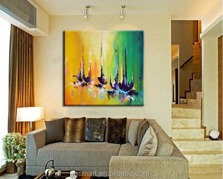 Schilderij amsterdam in modern schilderij stad in kleur kunst