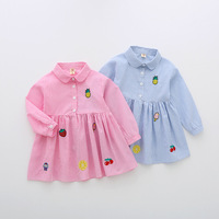 Elegant Baby Girl Autumn Shirt Dress Kids Long Sleeve Fashion Pineapple Embroidery Clothes Baby Sweet Shirt