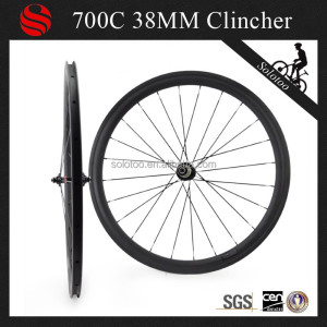 3k matte full toray carbon bike road wheelset 38mm clincher racing wheels with basalt brake surface