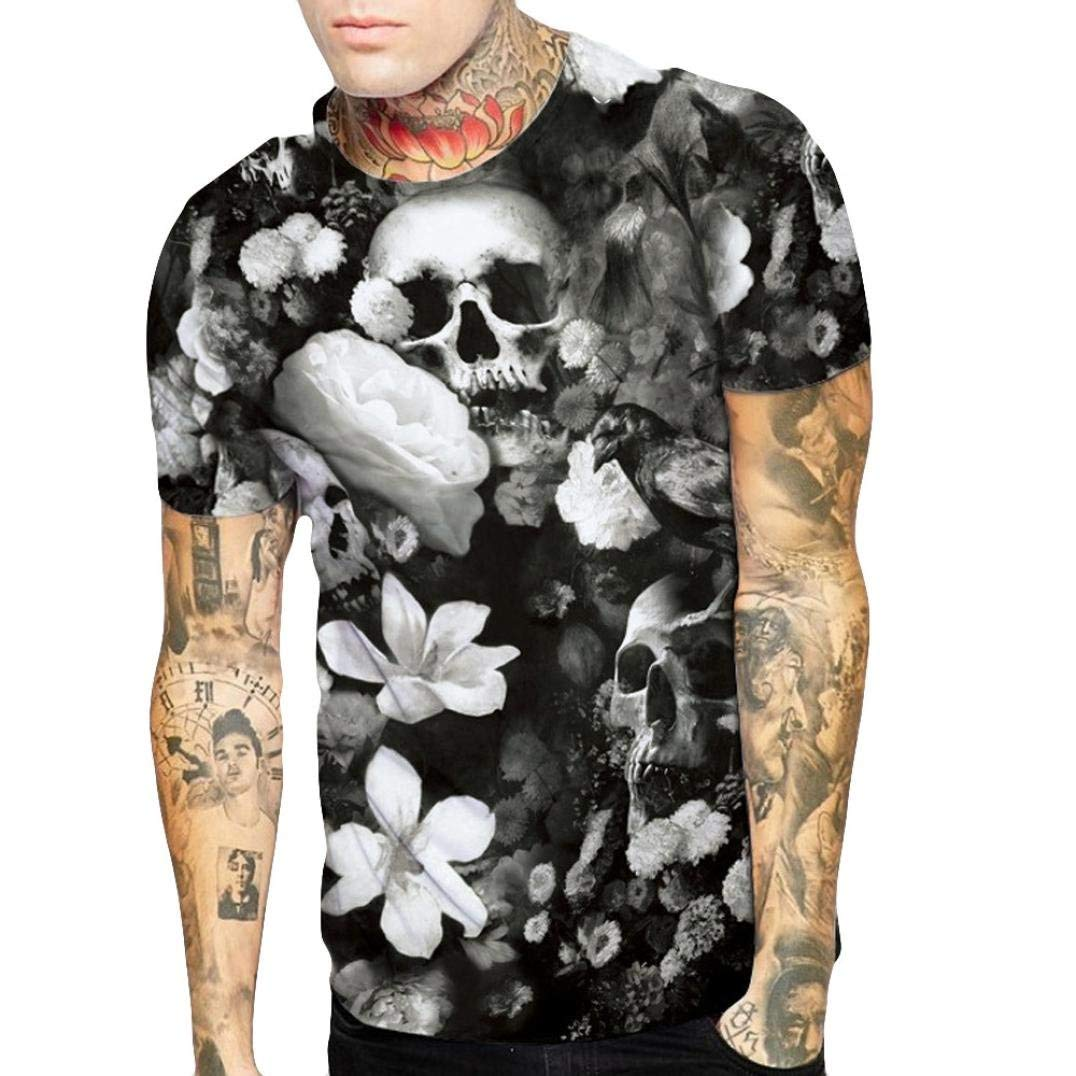 iHPH7 Mens T Shirt,Skull Lovers 3D Printing Tees Shirt Short Sleeve Blouse Tops