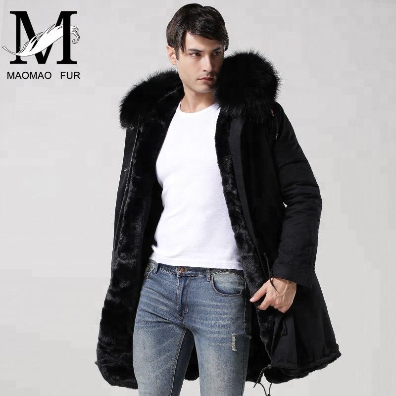 beb8f607bb58f Winter Fake Fur Parka Black Cotton Shell Men Parka Coat - Buy Men ...