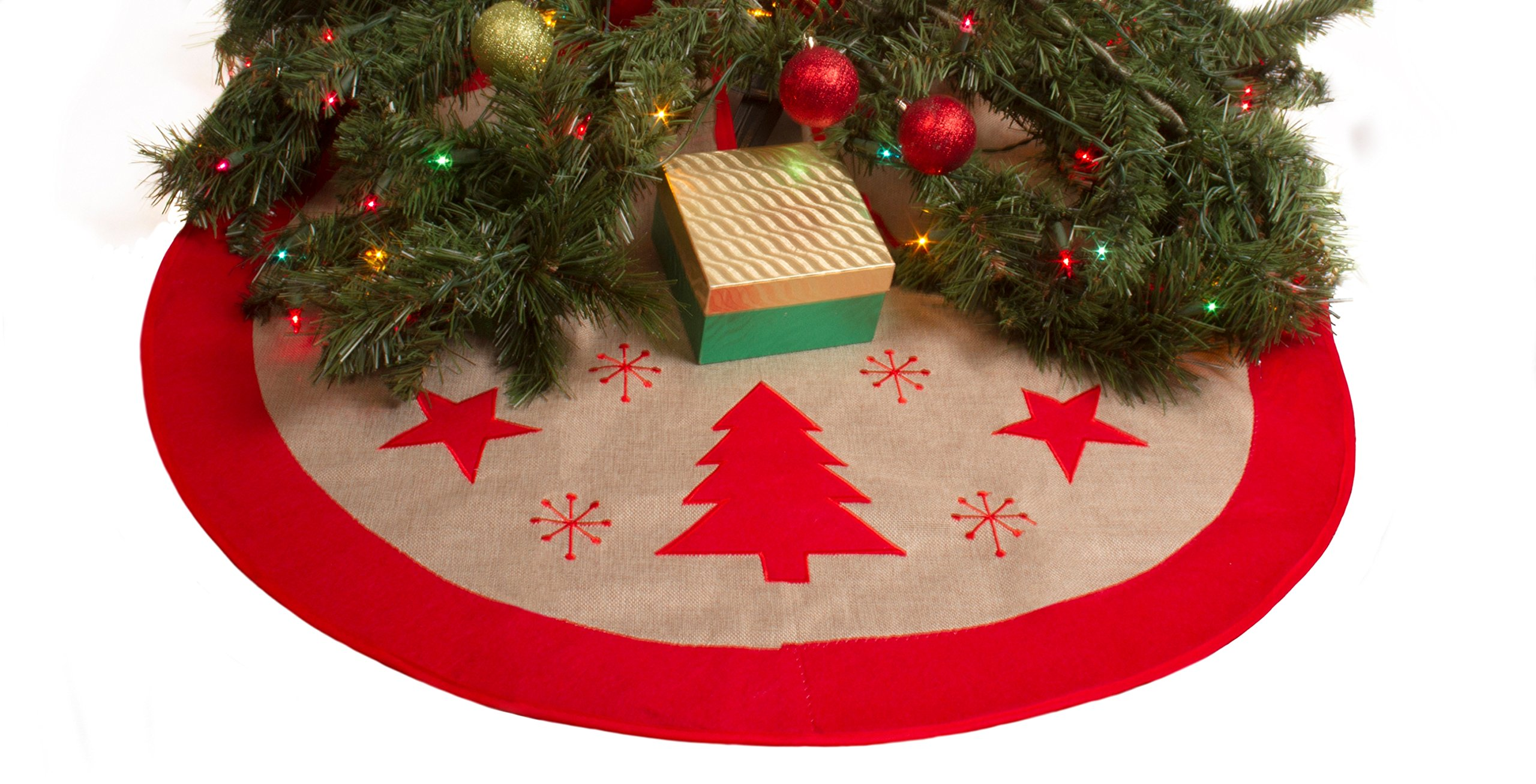 buy 36 burlap christmas tree skirt xmas tree skirt red border burlap tree skirt stars trees in cheap price on malibabacom - Burlap Christmas Tree Skirt