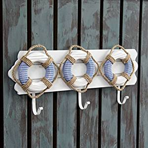 CCWY Wooden coat hooks Mediterranean creative lifebuoys hooks on the doors of the key hooks decorated hooks