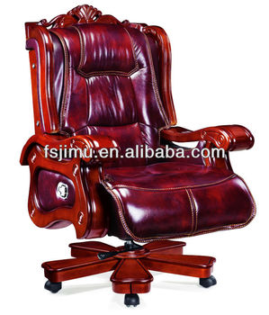 Luxury Antique Wooden Chair  Oversized Classic Leather Office