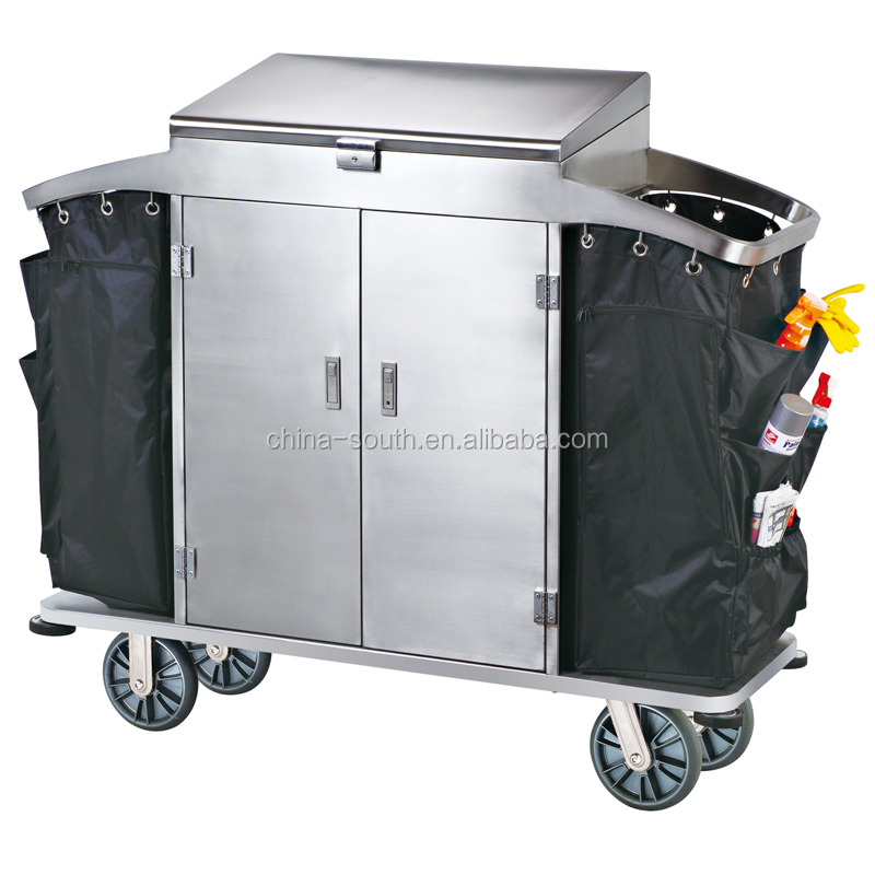 Stainless steel Housekeeping Carts Service Maid Trolley/laundry trolley housekeeping carts