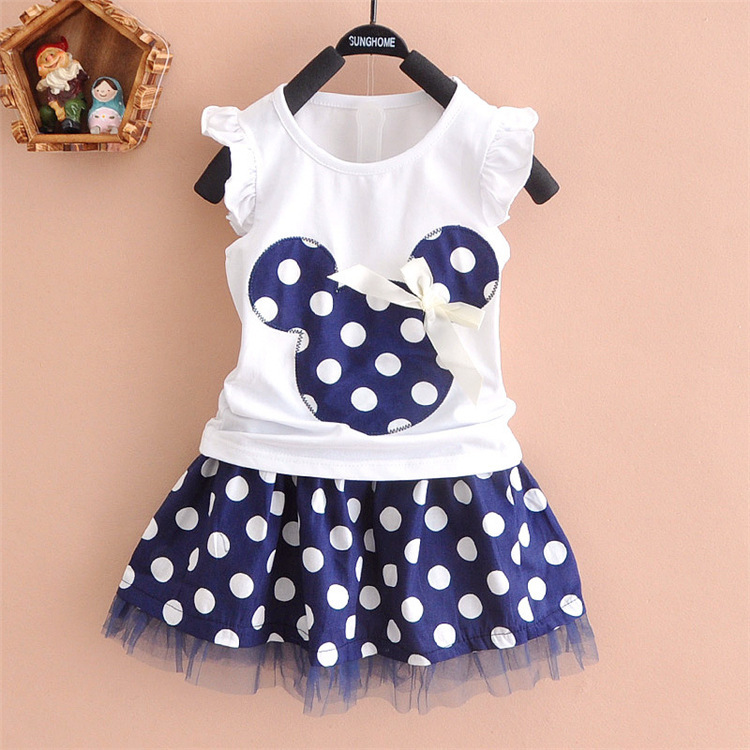 307ca6aae4f28 Mickey head dot cartoon 2 pieces skirt set 3-5 year old kids clothes baby