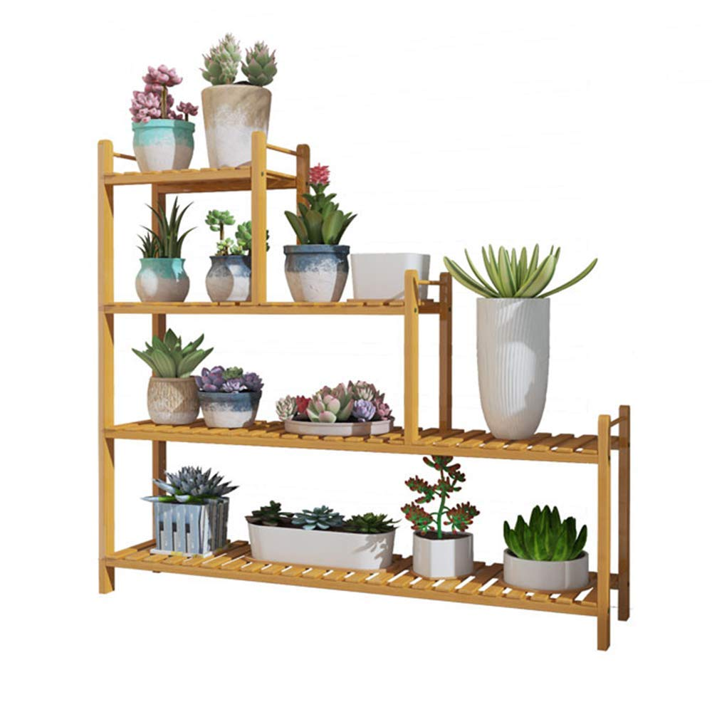 HPLL Flower Stand, Nan Bamboo Indoor Multi-Layer Living Room Balcony Solid Wood Flower Pot Rack (Color : Original Wood Color)