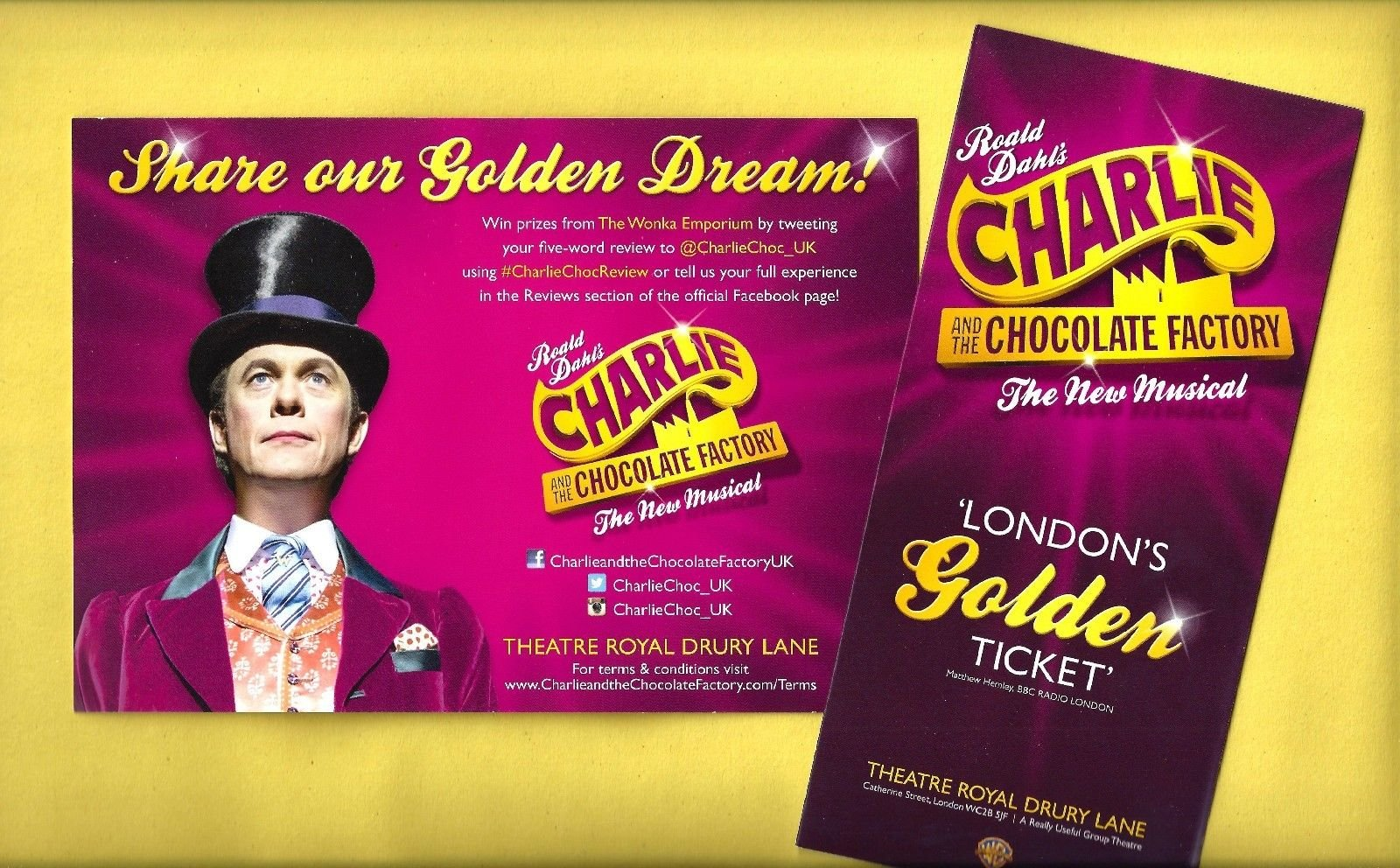 """Roald Dahl's """"CHARLIE and the CHOCOLATE FACTORY"""" London Musical 2014 Flyer Set"""