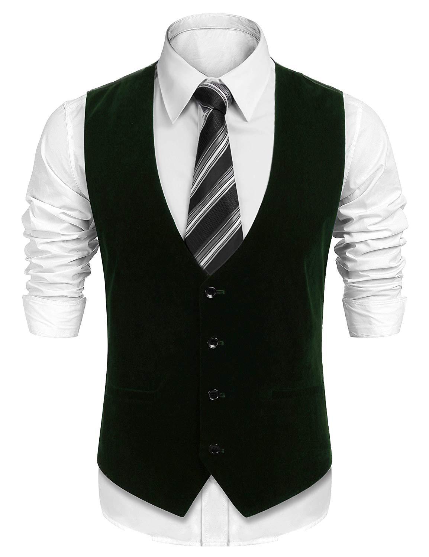 40a798ad8cbea7 COOFANDY Men s V-Neck Sleeveless Suit Vest Slim Fit Wedding Party Velvet  Waistcoat