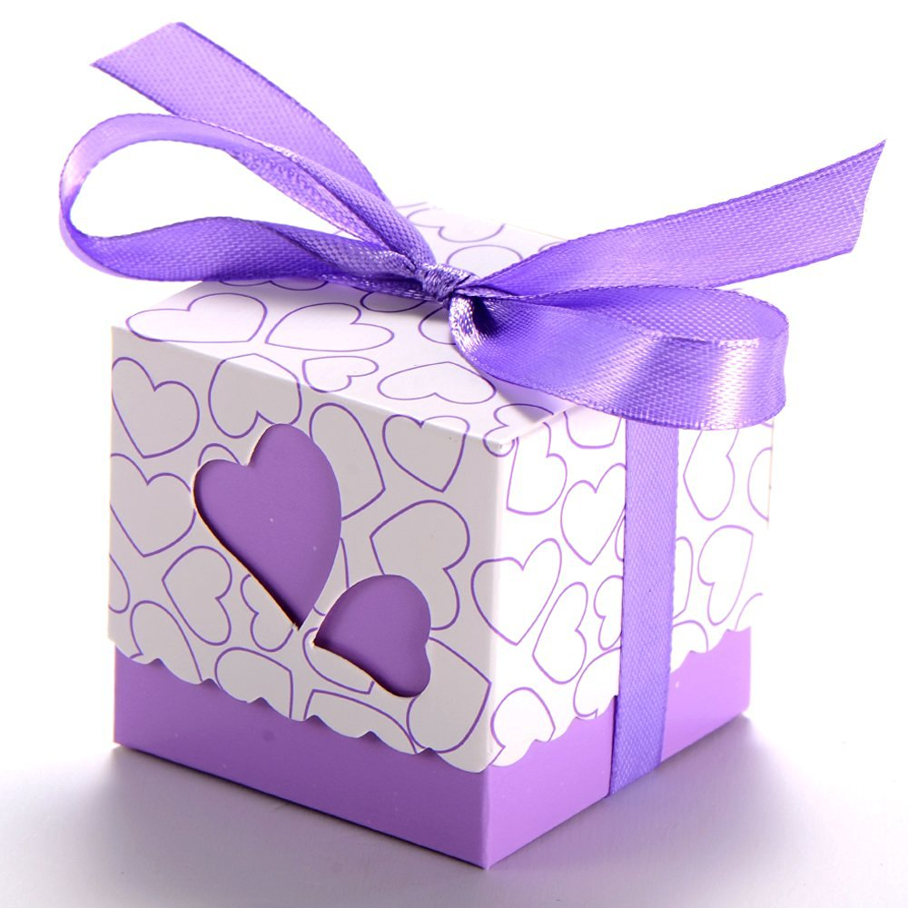 100 Wedding Favour Candy Boxes Party Gift Boxes With Ribbons (Purple)