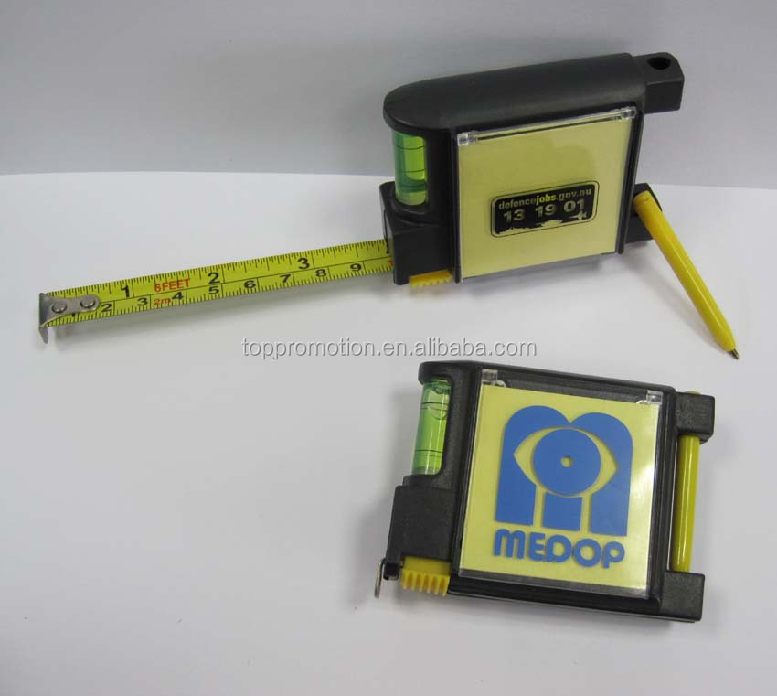 HEYU plastic 4 in 1 multifunction mini promotion steel tape measure with memo pad & ball pen & level