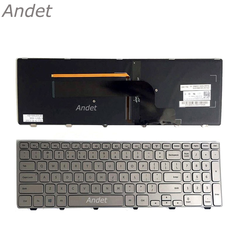 Wholesale Original NEW OEM Notebook Keyboards for DELL Inspiron 15 7000 Series 15 7537 US layout Backlit Silver Laptop Keyboard