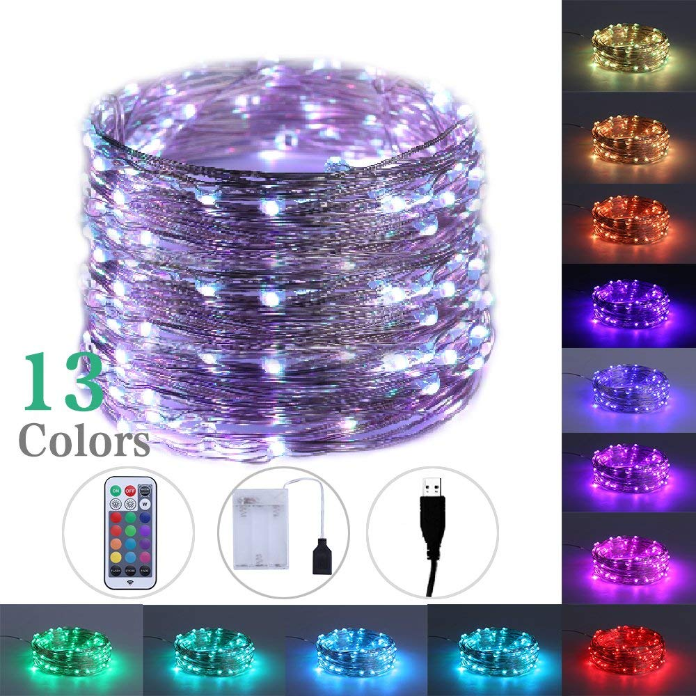 LEGELITE RGB 13Color LED Fairy Light with USB and Battery Case, RF Control LED String Lights 33ft 100 Led for Bedroom, Patio, Garden, Gate, Yard, Parties, Wedding, Indoor and Outdoor Decorations