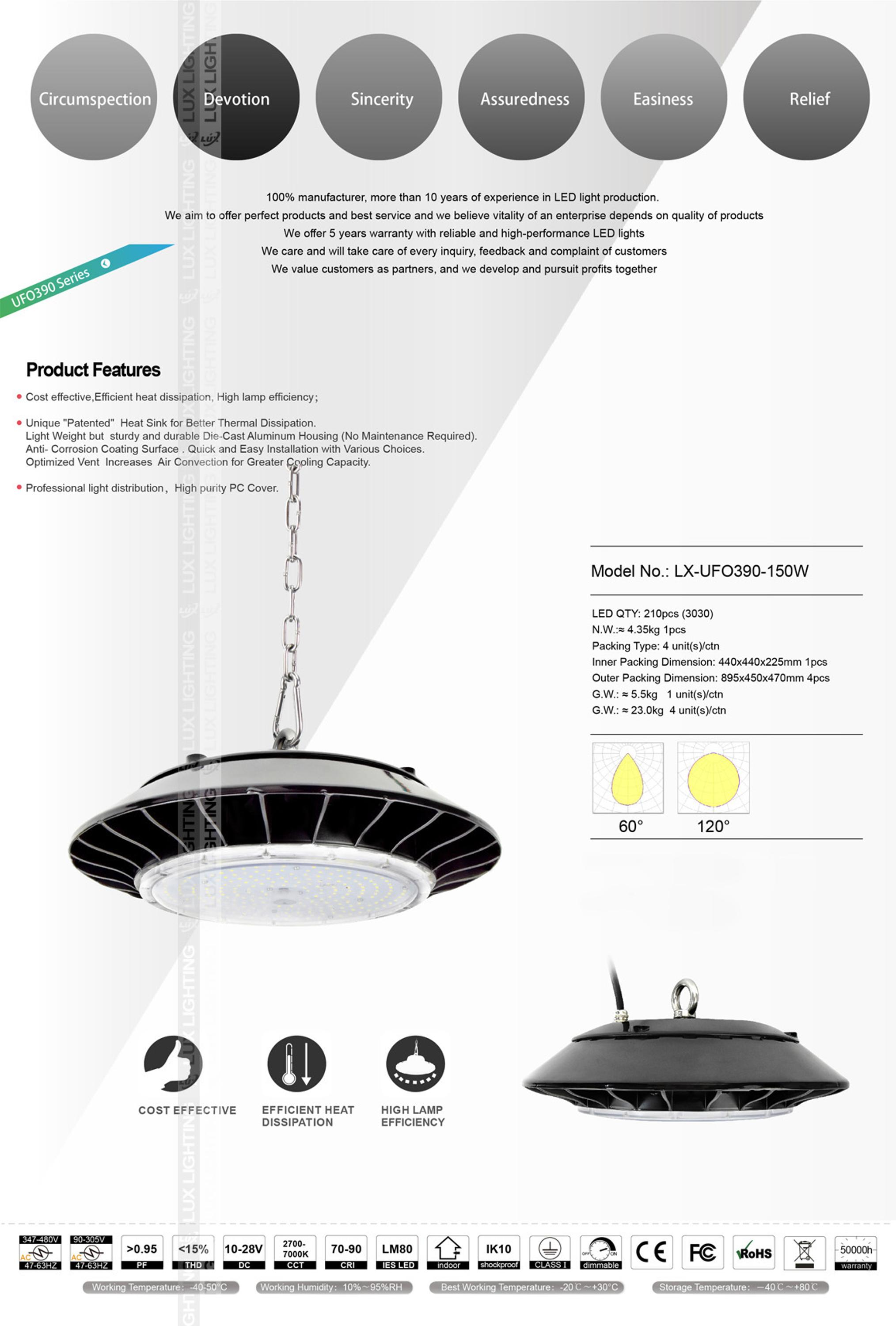 5years warranty ip65 zigbee led lighting ufo led high bay light