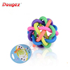 Factory HOT Selling cheap TPR eco-friendly rainbow colorful Pet Dog Chewing Ball squeeze Puppy Toys with Bells
