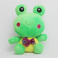 cute plush frog with bowknot for crane