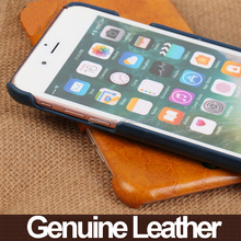 Card bag with crazy-horse leather design genuine leather back phone cover case for iphone 6