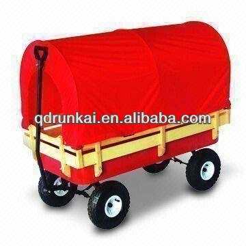 Kids Wooden Wagon Hand Cart With Red Awning TC4201B