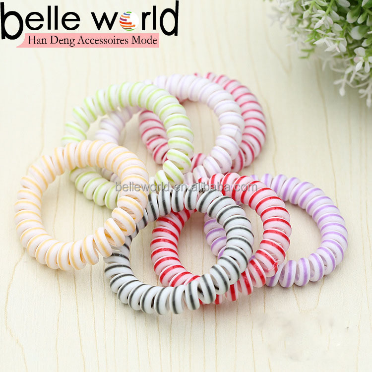 Spiral Coil Telephone Cord Wire Plastic Elastics Hair Band tie Ponytail No Tangle with filling/muti-colour