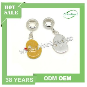 China supply silver enamel charms wholesale, Yellow enamel duck charm for necklace