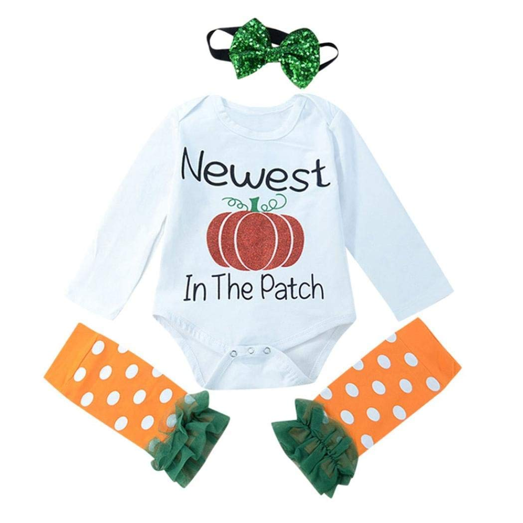 Suma-ma 3Pce Halloween Baby Girls Letter Print Romper Set Jumpsuit+Leggings+Headbands Set Outfit