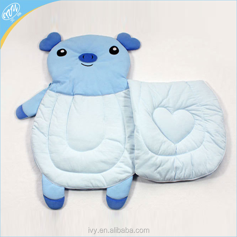 Cute animal shape wholesale knitted fabric baby sleeping bag 100% cotton