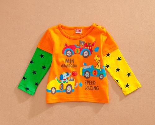 Sz80 ~ 110 дети т - рубашки для младенцы комикс одежда дети топы тис мальчики девочки длинный рукав футболки автомобили