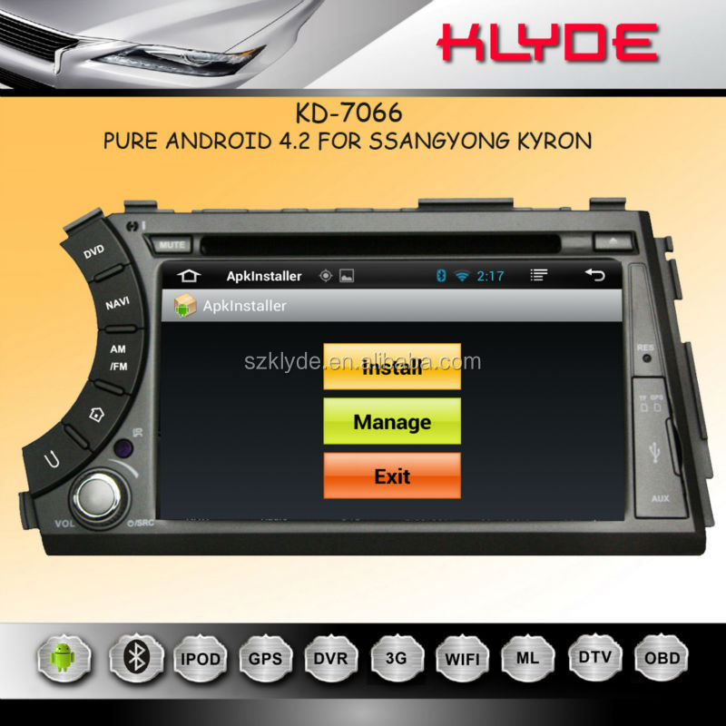 Pure Android 4.2.2 system Bluetooth Car Radio for Ssangyong Actyon