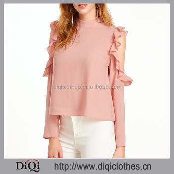 81600f865da81 Latest design Spring guangzhou clothing factory OEM women Pink Band Collar Open  Shoulder V Cut Out