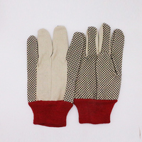 2018 PVC dots on palm red cuff cotton canvas garden gloves