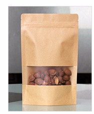Black Stand up pouches / Kraft paper coffee tea packaging bags with printing