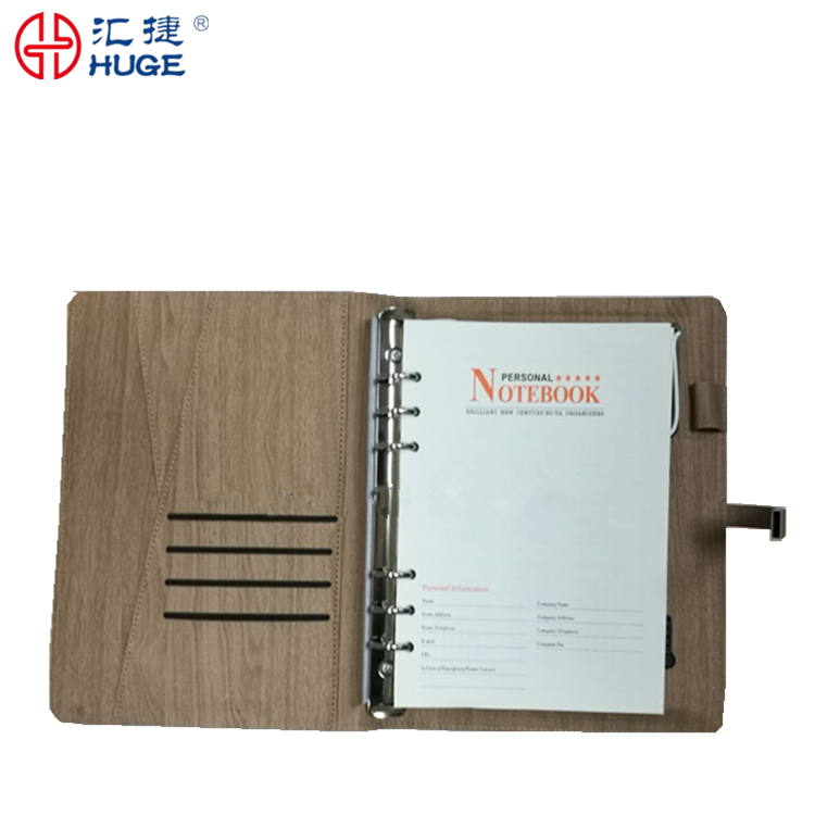 Wholesale pu pvc power bank organizer notebooks with 8G USB snap