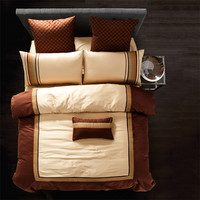 Bamboo fiber satin Cotton Luxurious High end Bedding set sheet cover gold yellow
