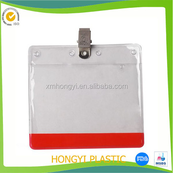 17158b19fd0 Wholesale Clear Plastic Horizontal Name Tag ID Card Holder Badge with hook  Clip or pin
