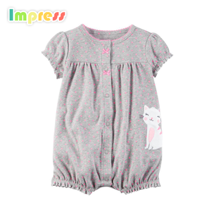 100% Cotton romper clothes plain short sleeve grey baby summer romper